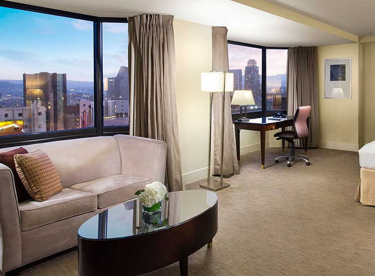 Guest room with skyline views